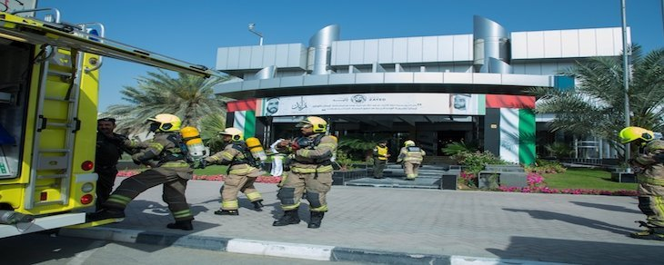 Emirates Transport holds a fire evacuation drill in Dubai